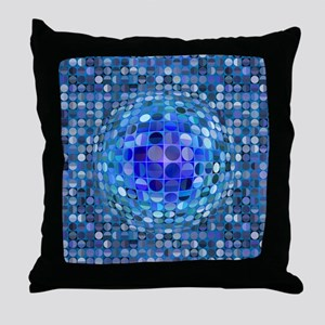 Optical Illusion Sphere - Blue Throw Pillow